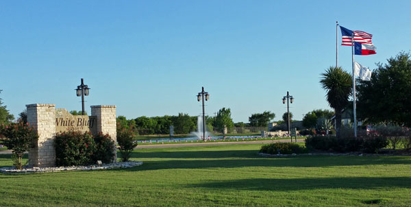 South pond & fountain, White Bluff Resort entrance